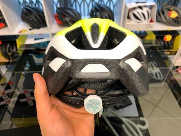Met Crossover Nero e giallo con LUCE POSTERIORE- Casco MTB. Caschi bici Mountain Bike. RMC negozio biciclette Verona