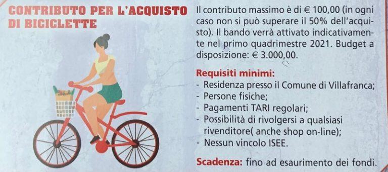 Villafranca di Verona. Contributo di 250€ per acquisto bici e biciclette elettriche o muscolari