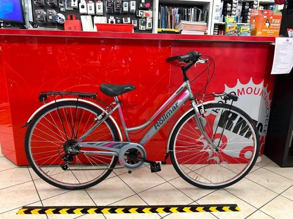"""Rollmar City 28"""" grigia rosa. City Bike donna Verona. Bici per città. RMC negozio biciclette Verona"""